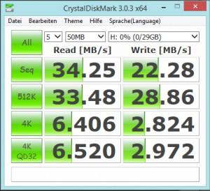 CrystalDiskMark Test Samsung Serie EVO 32 GB